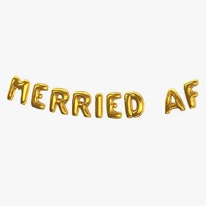 3D Foil Baloon Words Merried AF Gold