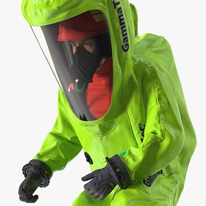 Heavy Duty Chemical Protective Suit Green Rigged 3D model