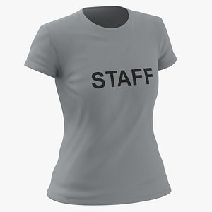 3D Female Crew Neck Worn Gray Staff 03