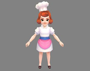 Cartoon female chef 3D model