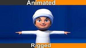 3D rigged cartoon arab animation character