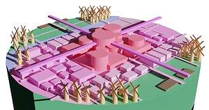 3D utopia city plan design