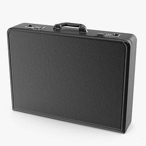 Hard Attache Leather Briefcase Black 3D model