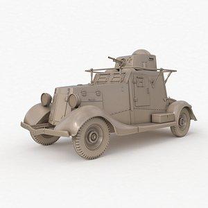FAI M Armoured Car Clay VRay 3D