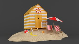 3D Beach Hut Umbrella and Chair