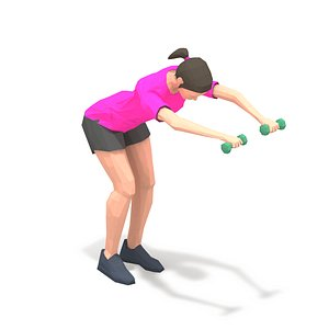 3D animations exercise woman model