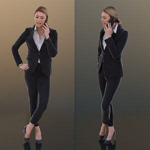 10267 Ramona - Young Business Woman In Suit Talking On The Phone 3D