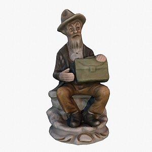 3D Old man statue low-poly 3D model