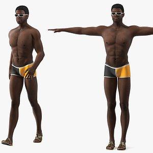 3D afro american man swimwear