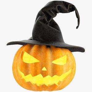3D Halloween Pumpkin with Hat V1