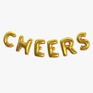 3D model Foil Baloon Words Cheers Gold