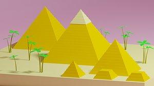 3D cartoon simple egypt pyramids model