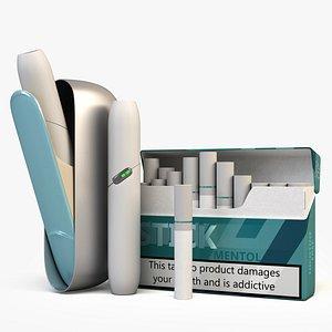 3D iqos heating tobacco model