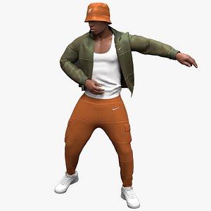 3D black male danse animation