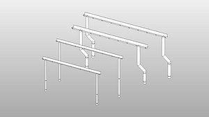 3D model Rain Gutter - Full Parametric Revit Family