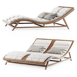 3D chaise double wooden model
