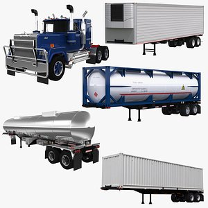 3D Mack Superliner and Trailers Collection