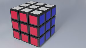 3D Rubiks Cube black