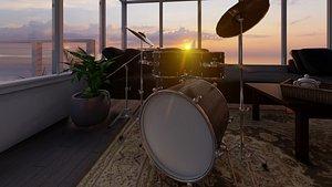 3D model drum set