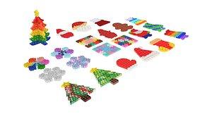 Christmas Pop It Fidget Toys Set 3D model
