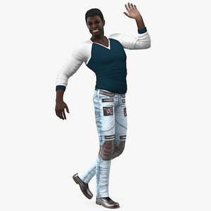 3D Afro American Man in City Style model