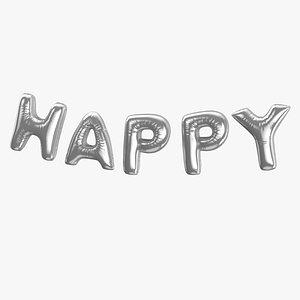 3D Foil Baloon Words Happy Silver model