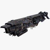 Sci Fi Destroyer Lowpoly PBR