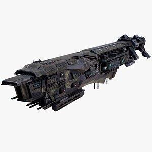 3D Sci Fi Destroyer Lowpoly PBR
