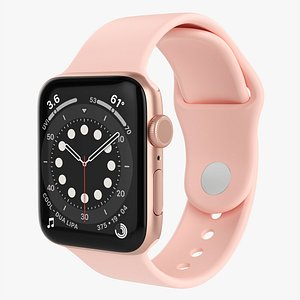3D Apple Watch Series 6 silicone loop gold model