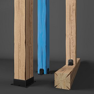 3D wood beam wooden