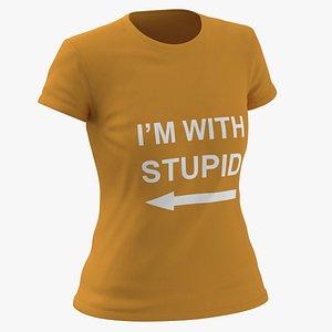 3D Female Crew Neck Worn Orange Im With Stupid 01 model
