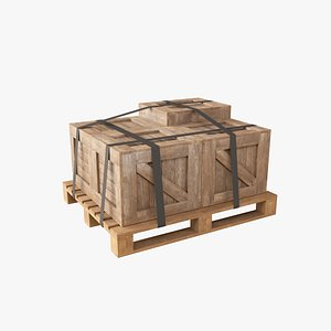 3D pallet industrial crate model
