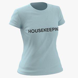 3D model Female Crew Neck Worn Blue Housekeeping 01