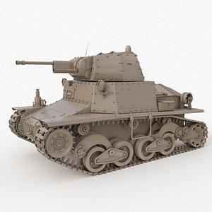 Tank L6 40 Ansaldo Fiat Italian Clay Vray 3D model
