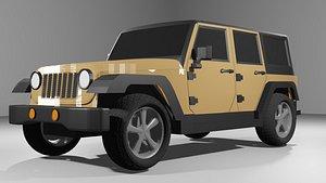 3D jeep wrangler car wheels model