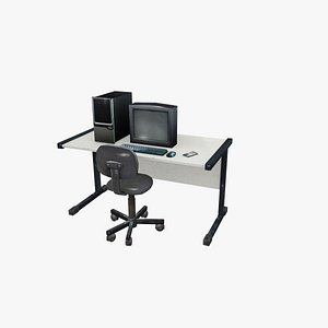 Computer office table 3D model