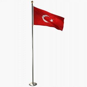 3D flag flagpole model