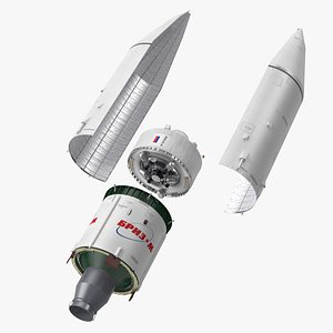 Proton M Rocket Stage 3 with Breeze-M 3D
