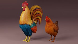 rooster hen rigged 3D