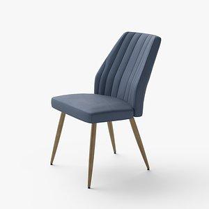 3D model Leilani dining chair velvet blue
