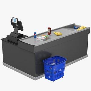 Cash Counter Set 3D model
