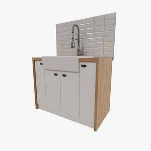 Tap and Ceramic Sink 3D model