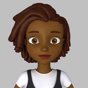 3D girl cartoon black model