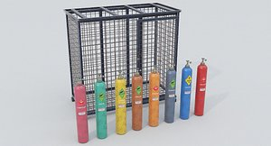 3D model 8-types of Old Industrial Gas Cylinders