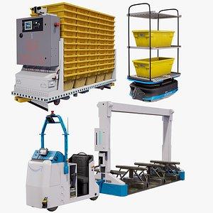 Industrial Warehouse Robots X3 Package PBR 3D model
