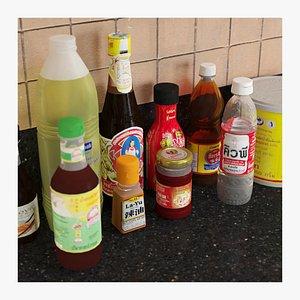 3D Thai Sauces Bottles