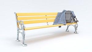 3D model Bag and Coat on Park Bench - 3D Asset