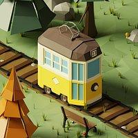3D LowPoly Cartoon old Tram model