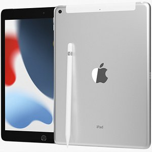 Apple iPad 10 2 2021 9th Gen WiFi and Cellular with Pencil Silver 3D model