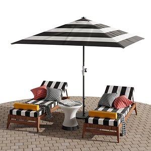 3D Beach lounge outdoor set 10